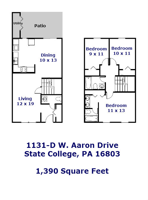 Floor plan of the 3 bedroom townhouse for rent at 1131-D. W. Aaron Drive, State College PA