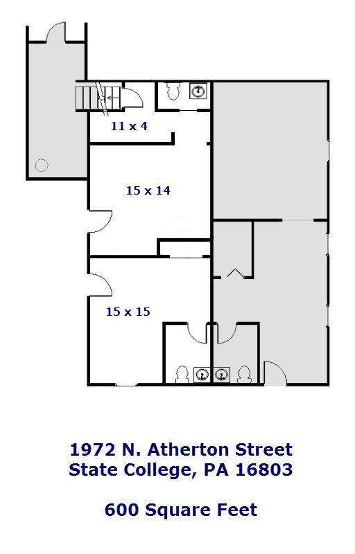 Floor Plan for the Commercial Space for rent at 1792 N. Atherton Street, State College PA