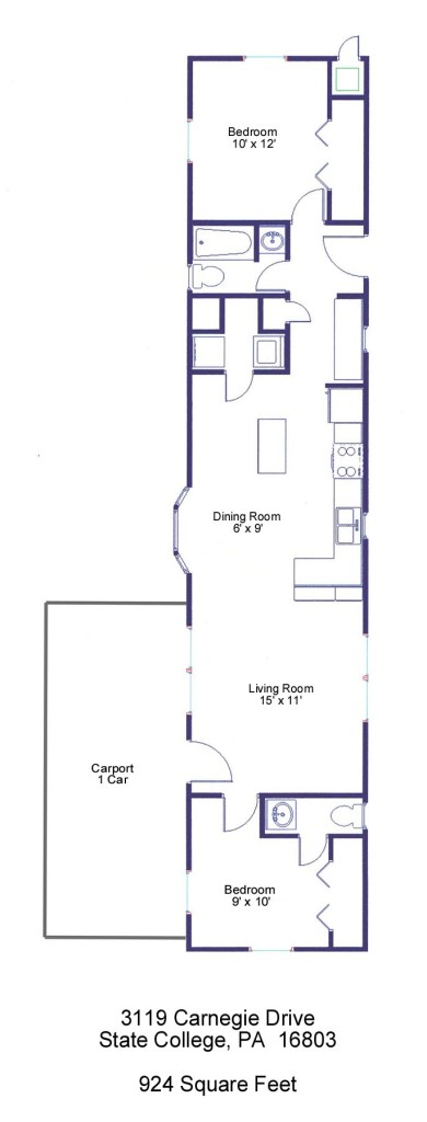 Floor plan of the 2 bedroom house for rent at 3119 Carnegie Drive in State College, PA.