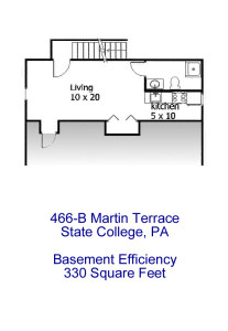 Floor plan for the basement efficiency apartment at 466-B Martin Terrace, State College PA