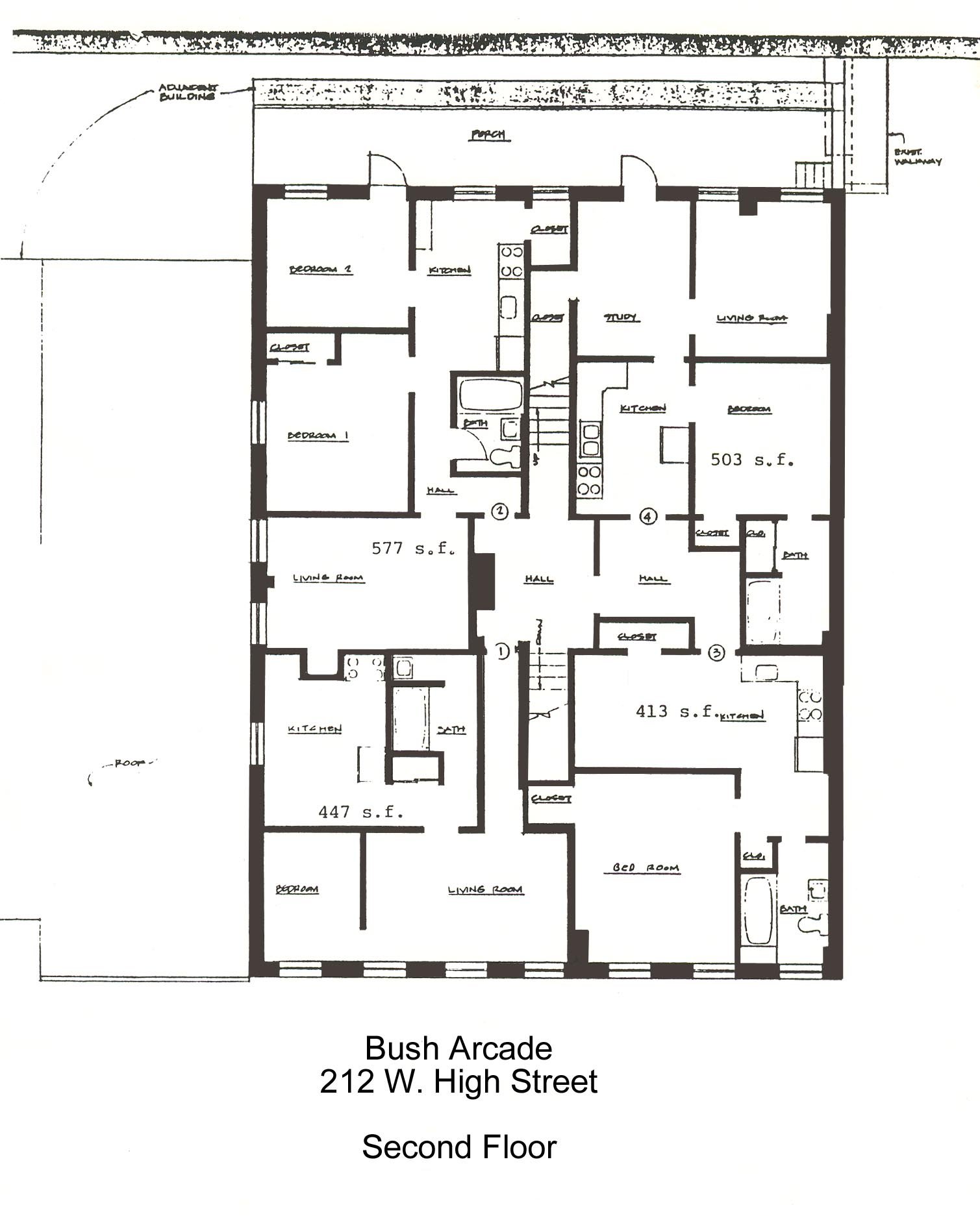Floor Plans for apartment #104 at the Bush Arcade Building in Bellefonte PA