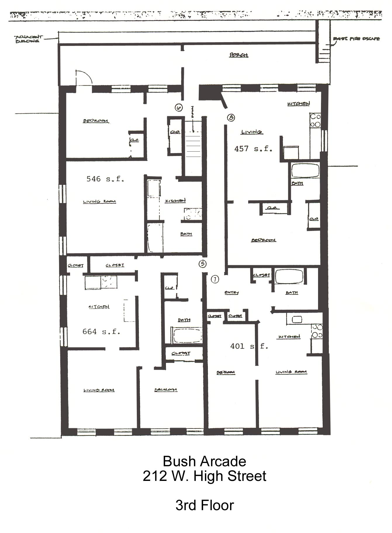 Floor Plans for apartment #5-8 at the Bush Arcade Building in Bellefonte PA
