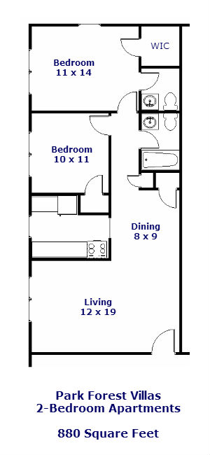 Floor plan of the 2-bedroom apartments at the Park Forest Villas in State College, PA