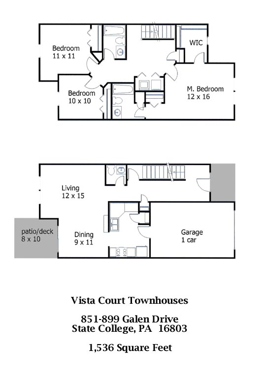 Floor plan for the professional 3-bedroom townhouses at Vista Courts in State College PA