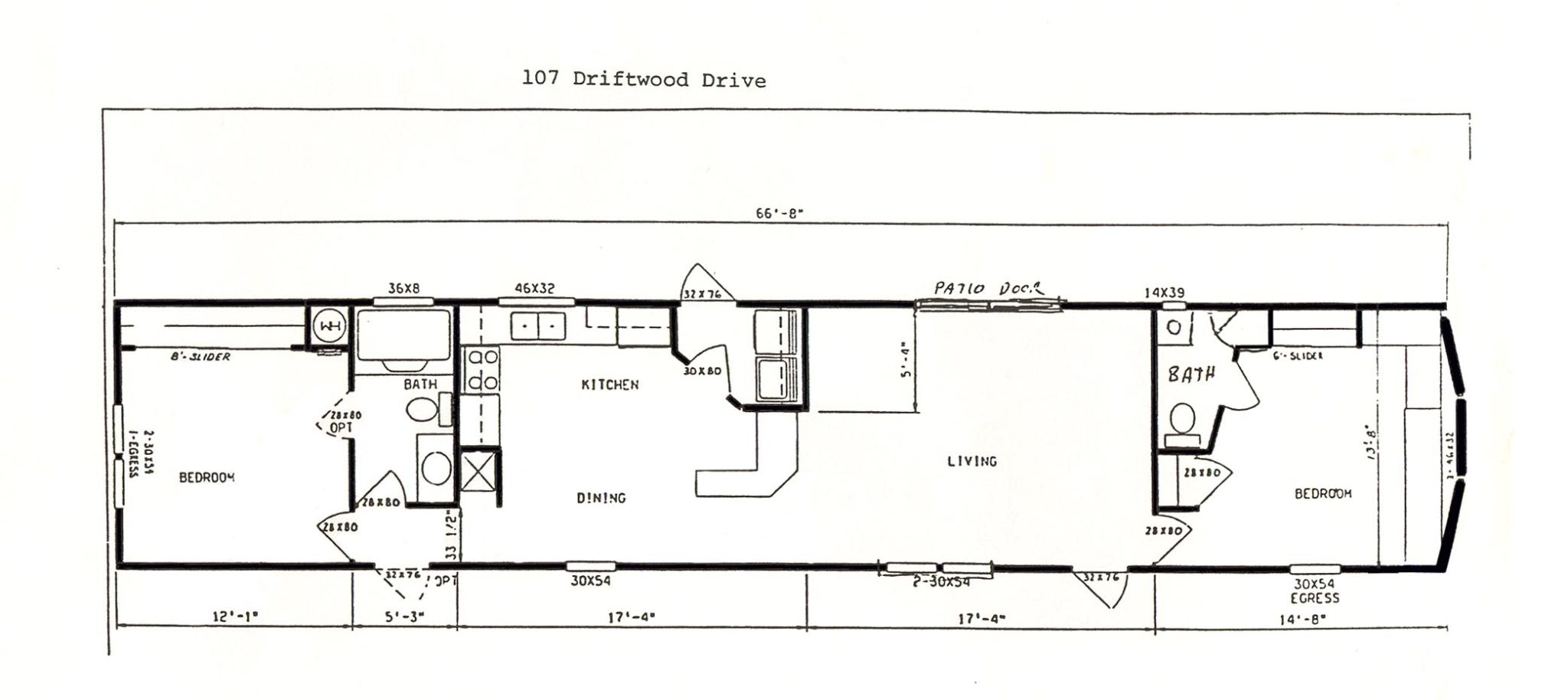 Floor plan of the 2-bedroom house for rent at 107 Driftwood Drive, State College PA.