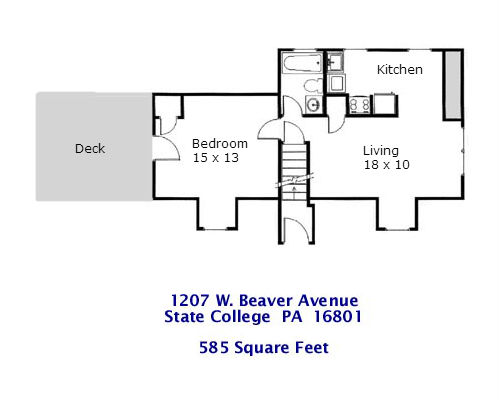 Floor plan of the 1-bedroom apartment at 1207 W. Beaver Avenue in State College PA.