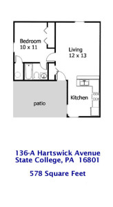 Floor plan for the 1-bedroom house for rent at 136.5 Hartswick Avenue, State College PA.