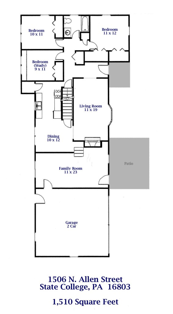Floor plan of the 3-bedroom house for rent at 1506 N. Allen Street, State College PA.