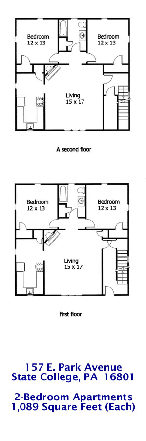 Floor plan of the 2-bedroom student apartments for rent at 157 E. Park Avenue, State College, PA.