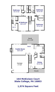 Floor plan of the 4-bedroom house for rent at 164 McKivison Court in State College PA.