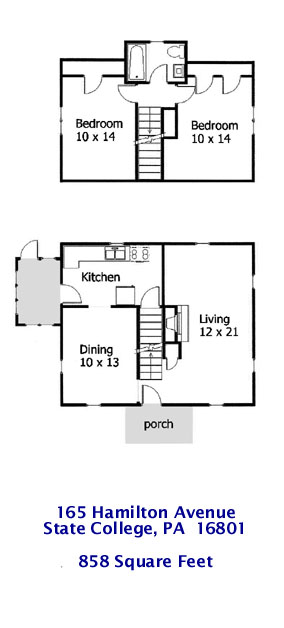 Floor plan for the 2-bedroom house for rent at 165 W. Hamilton Avenue in State College, PA.