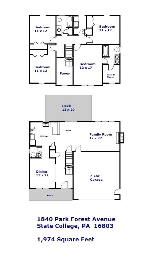 Floor plan for the 4-bedroom house for rent at 1840 Park Forest Avenue, State College PA.