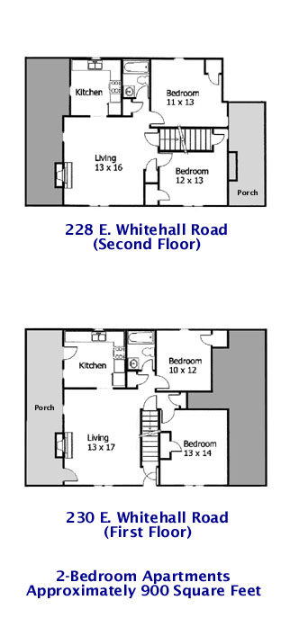 Floor plan for the 2-bedroom apartments at 228 and 230 E. Whitehall Road in State College PA.