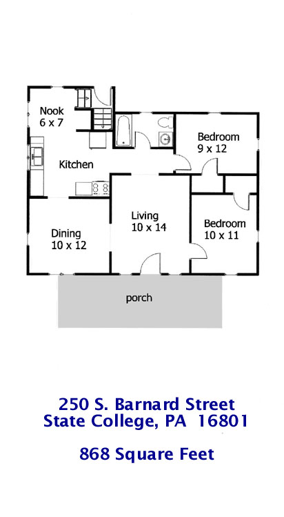 Floor plan of the 2-bedroom house for rent at 250 S. Barnard Street, State College PA.