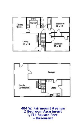 Floor plan of the 2-bedroom apartment for rent at 404 W. Fairmount Avenue, State College PA.