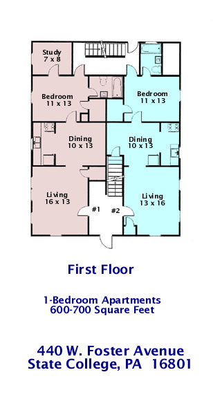 Floor plan of the 1st Floor (Apts. #1 and #2) of 440 W. Foster Avenue, State College PA.