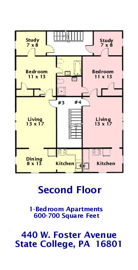 Floor plan of the 2nd Floor (Apts. #3 and #4) of 440 W. Foster Avenue, State College PA.