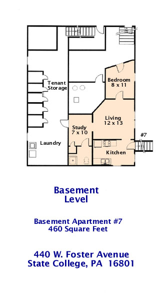 Floor plan of the basement level of 440 W. Foster Avenue, State College PA.