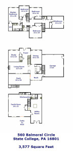 Floor plan for the 5-bedroom house for rent at 560 Balmoral Circle in College PA.
