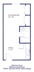Floor Plan for Efficiency Apartments at 1798 N. Atherton Street in State College PA