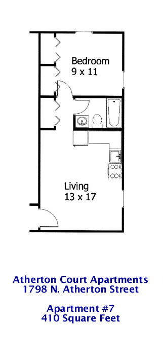 Floor Plan for Apt. #7 at 1798 N. Atherton Street in State College PA