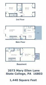 Floor plan of the 3-bedroom townhouse for rent at 2073 Mary Ellen Lane in State College, PA.