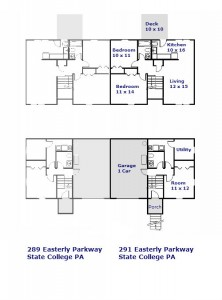Floor plan of the 2-bedroom duplex for rent at 289-291 Easterly Parkway in State College, PA.