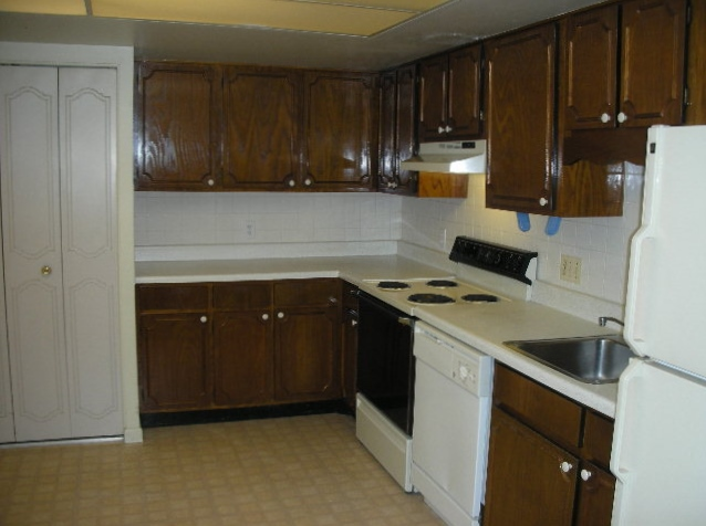 """Kitchen photo of the """"Georgetown"""" townhouse for rent at 432 Amblewood Way."""