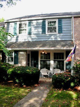"""Front photo of the 3-bedroom """"Georgetown Townhouse"""" for rent at 444 Amblewood Way in State College, PA."""
