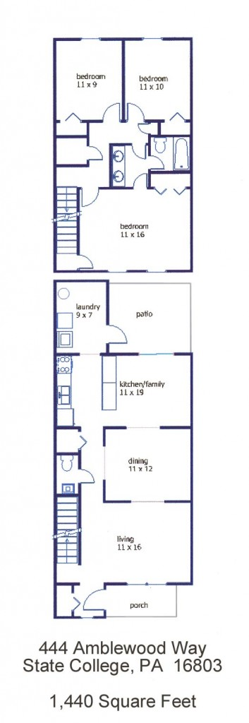 """Floor plan of the 3-bedroom """"Georgetown Townhouse"""" for rent at 444 Amblewood Way in State College, PA."""