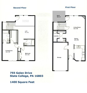 Floor plan of the 2-bedroom townhouse for rent at 755 Galen Drive in State College, PA.