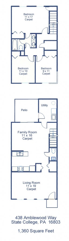 Floor plan of the 3-bedroom townhouse for rent at 438 Amblewood Way in State College, PA.