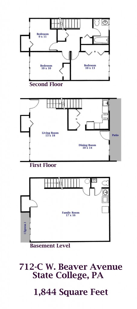 Floor plan of the 3-bedroom townhouse for rent at 712-C W. Beaver Avenue in downtown State College, PA.