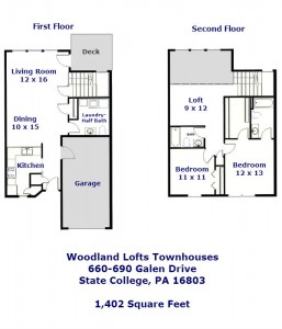 "Floor plan of the 2-bedroom ""Woodland Lofts"" townhouses for rent on Galen Drive"