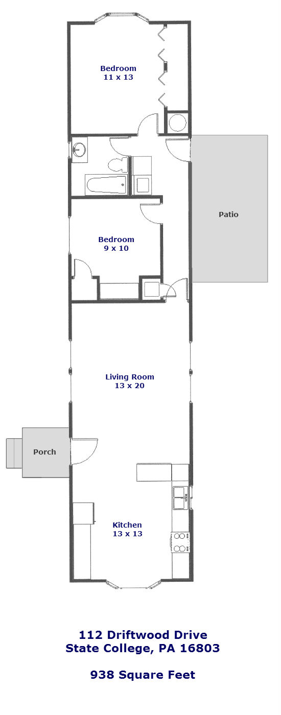 Floor plan of the 2-bedroom house for rent at 112 Driftwood Drive in State College, PA.