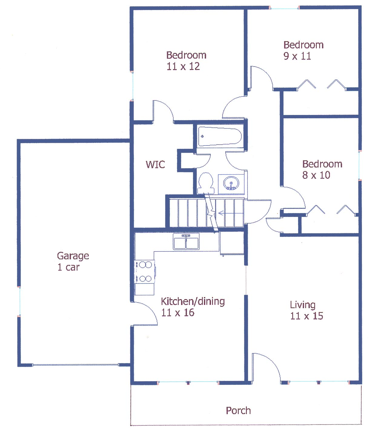 Floor plan of the 3-bedroom house for rent at 317 Ghaner Drive in State College, PA.