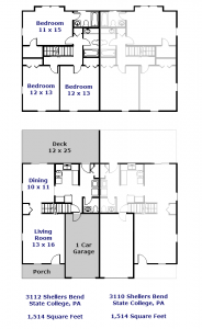 Floor plan of the duplex for rent at 3110-3112 Shellers Bend in State College, PA.
