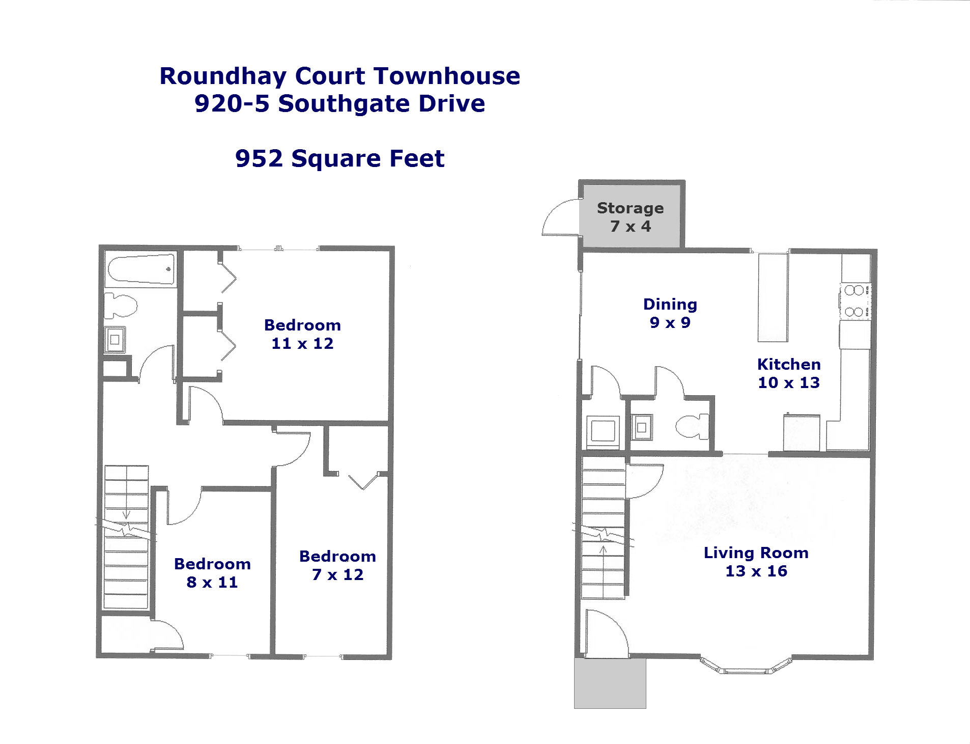 Floor plan for 920-5 Southgate Drive.