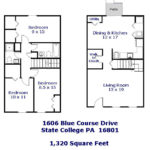 Floor plan of the 3-bedroom townhouse for rent at 1606 Blue Course Drive.