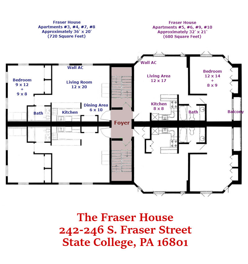Floor plan for the Fraser House apartments at 242-246 S. Fraser Street in State College, PA