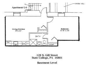 Floor plan of the basement of 128 N. Gill Street apartments in State College, PA. (#6-G)