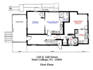 Floor plan of the 1st Floor of 128 N. Gill Street apartments in State College, PA. (#1-A and #2-B)