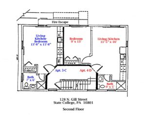 Floor plan of the 2nd Floor of 128 N. Gill Street apartments in State College, PA. (#3-C and #4-D)