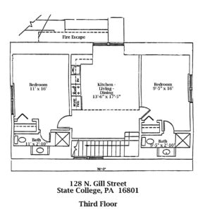 Floor plan of the 3rd Floor of 128 N. Gill Street apartments in State College, PA. (#5-E)