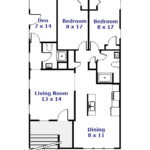 Floor plan of the 2-bedroom apartment for rent at 412 W. Foster Avenue, State College PA.