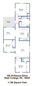 Floor plan of the 3-bedroom house for rent at 108 Driftwood Drive in State College, PA.