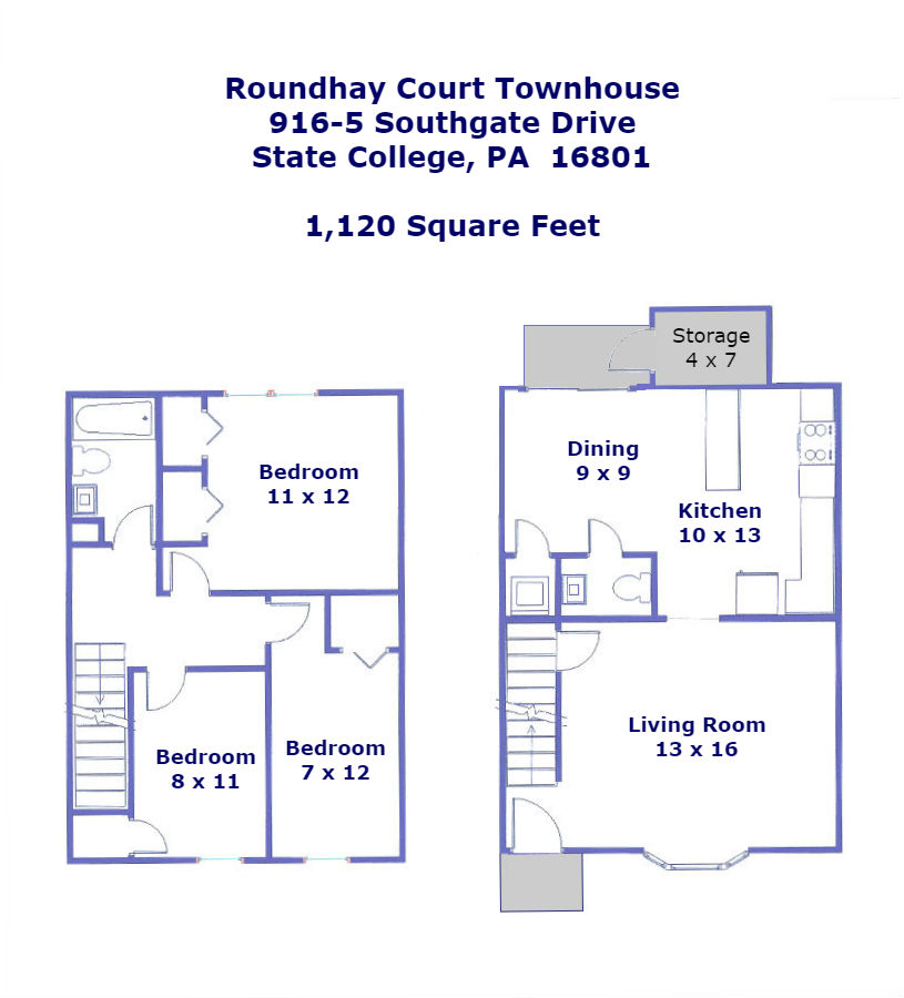 Floor plan of the 3 bedroom townhome for rent at 916-5 Southgate Drive