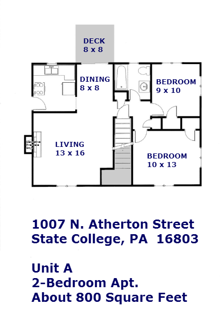 2 bedroom student apartment floor plan: 1007 N. Atherton Street