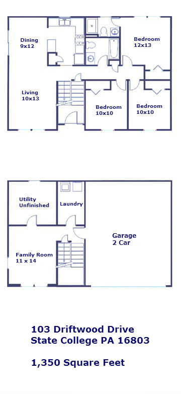 Floor plan of the 3 bedroom house for rent at 103 Driftwood Drive in State College PA