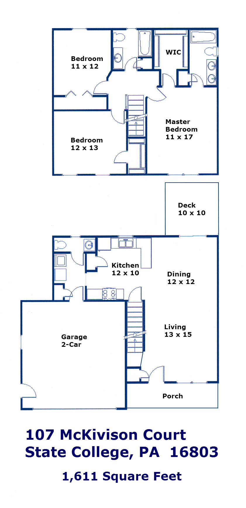 Floor plan of the 3 bedroom house for rent at 107 McKivison Court